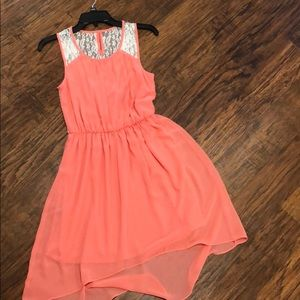 Peach/Coral colored dress with white lace size S